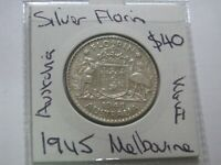 AUSTRALIA 1945 SILVER  FLORIN COIN LOWER MINTAGE NICE $40