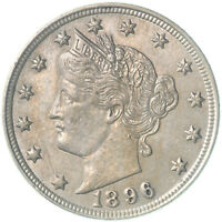1896 LIBERTY V NICKEL ABOUT UNCIRCULATED AU