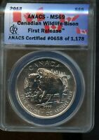 2013 ANACS MS 69 CANADIAN WILDLIFE   BISON FIRST RELEASE SIL