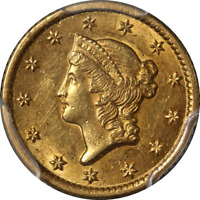 1851 O TYPE 1 LIBERTY GOLD $1 PCGS MS61 GREAT EYE APPEAL NIC