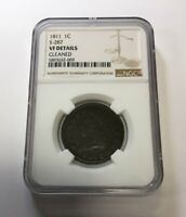 1811 1C S-287 CLASSIC HEAD LARGE CENT NGC VF DETAILS CLEANED