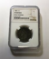 1808 1C CLASSIC HEAD LARGE CENT NGC EXTRA FINE  DETAILS EDGE DAMAGE