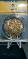 1899 O MONSTER TONED MORGAN SILVER DOLLAR ANACS MINT STATE 62 VAM-9 DOUBLE DIE ARROWS