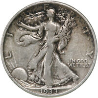 1933 S WALKING LIBERTY HALF DOLLAR 90 SILVER FINE FN NEARLY VF SEE PICS D242