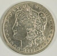 1893 MORGAN SILVER DOLLAR $1 ABOUT UNCIRCULATED AU DETAILS POLISHED