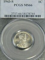 1943 S LINCOLN STEEL CENT PCGS MINT STATE 66 BRIGHT WITH HINTS OF GOLD LUSTER G687