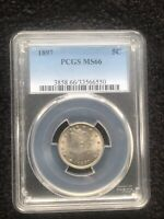 1897 5C LIBERTY V NICKEL - PCGS MINT STATE 66