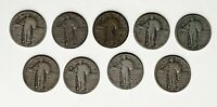 9 STANDING LIBERTY QUARTERS .25 1925 1926  S 1927 1928 S 1929 S 1930 S  G VG F