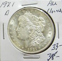 1921 D MORGAN SILVER  DOLLAR AU CLEANED LOT 114