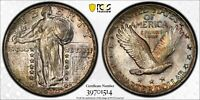 1930 STANDING LIBERTY QUARTER PCGS MINT STATE 64 FULL HEAD SIL WITH IRRIDESCENT COLOR