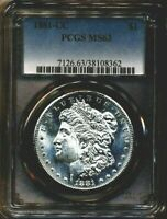 1881-CC MORGAN PCGS MINT STATE 63 ALMOST PL PROOF LIKE SILVER DOLLAR CARSON CITY MINT
