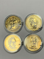 4 2010 GOLD PLATED PRESIDENTIAL DOLLARS-FILLMORE, PIERCE, BUCHANAN, LINCOLN