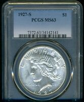 1927-S PEACE DOLLAR PCGS MINT STATE 63 --- LOOKS R --- BRIGHT WHITE
