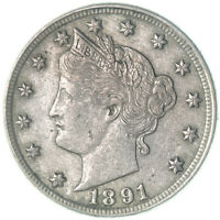 1891 LIBERTY V NICKEL ABOUT UNCIRCULATED AU