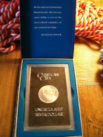 UNCIRCULATED MORGAN SILVER DOLLAR 1884 CC FROM GSA HOARD WITH CASE