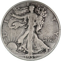 1939 WALKING LIBERTY HALF DOLLAR 90 SILVER  GOOD VG