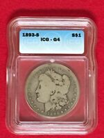 1893 S MORGAN SILVER DOLLAR $1 CERTIFIED ICG GOOD G4  KEY COIN AUTHENTICATED