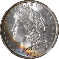 1887-P MORGAN SILVER DOLLAR NGC MINT STATE 66 GREAT EYE APPEAL STRONG STRIKE