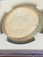 1889 US MORGAN SILVER DOLLAR TONED NGC MINT STATE 63 WITH DEEP DISTINCT COLORS RAINBOW
