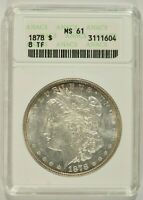 1878 MORGAN SILVER DOLLAR $1 8 TAIL FEATHERS 8TF ANACS MINT STATE 61 3111604
