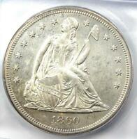 1860-O SEATED LIBERTY SILVER DOLLAR $1 - CERTIFIED ICG MINT STATE 62 UNC BU - $2190 VALUE