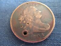 1804 HALF CENT COIN 1/2C DRAPED BUST LIBERTY PLAIN 4 STEMLESS HAS SMALL HOLE