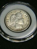 1906 BARBER DIME AU BRIGHT WITH  LUSTER IN AIRTIGHT CAP DP16
