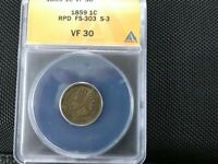 1859 INDIAN CENT REPUNCHED DATE CHERRYPICKERS FS 303 VF30 SHIPS FREE