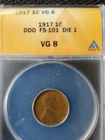 1917 DOUBLE DIE OBVERSE FS 101 DIE 1 ANACS VG 8 LINCOLN CENT SHIPS FREE