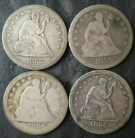 LOT OF FOUR 25C SEATED LIBERTY SILVER QUARTER DOLLARS
