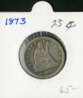 US COIN 1873 SEATED LIBERTY QUARTER