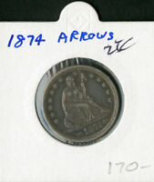 US COIN 1874 SEATED LIBERTY QUARTER ARROWS