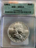 1961 FRANKLIN HALF DOLLAR - MINT STATE 64 ICG CERTIFIED