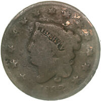 1832 CORONET LARGE CENT ABOUT GOOD AG SEE PICS D973