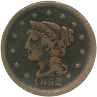 1852 BRAIDED HAIR LARGE CENT  GOOD SEE PICS D989