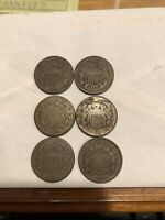 6 1864 TWO 2 CENT PIECE PIECES FULL RIM ONE PRICE 6 COINS CIVIL WAR DATE