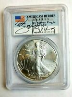 2004 1OZ SILVER EAGLE AMERICAN HEROES LANCE ARMSTRONG PCGS MINT STATE 69