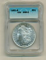 GORGEOUS ICG MINT STATE 63 1881-S MORGAN SILVER DOLLAR