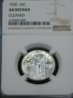 1930 STANDING LIBERTY QUARTER NGC AU CLEANED  BLAST WHITE GREAT LUSTER PQ MH267