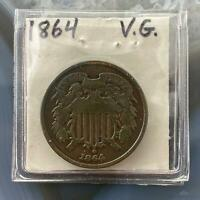 1864 US TWO 2 CENT PIECE CIRCULATION STRIKE VG COLLECTIBLE COIN