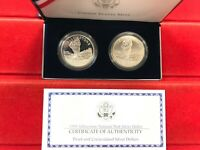 1999 US MINT YELLOWSTONE 2 COIN SET DOLLAR 2 SILVER DOLLARS