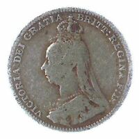 BRITISH 3 PENCE SILVER COIN   QUEEN VICTORIA  JUBILEE HEAD  1887 1893