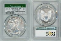 2020  P  SILVER AMERICAN EAGLE EMERGENCY PCGS MS70 PHILADELP