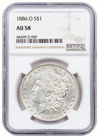 1886 O $1 MORGAN SILVER DOLLAR COIN NGC AU58 ABOUT UNCIRCULATED 58