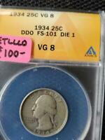 1934 DOUBLE DIE OBVERSE FS 101 DIE 1 CERTIFIED VG 8 WASHINGTON QUARTER