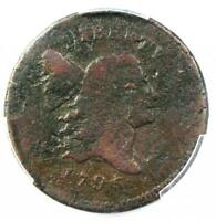 1795 LIBERTY CAP FLOWING HAIR HALF CENT 1/2C PUNCTUATED DATE. PCGS GOOD DETAIL