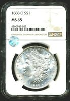 1888-O MORGAN NGC MINT STATE 65 W SIGHT WHITE SILVER DOLLAR COIN NEW ORLEANS MINT BU$1