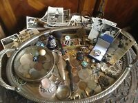 ANTIQUE SILVER TRAY WITH CURIOSITY LOT INC.SILVER COINS JEWE