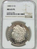 1880-O MORGAN SILVER DOLLAR NGC MINT STATE 63 PL CERTIFIED - NEW ORLEANS MINT - BJ581
