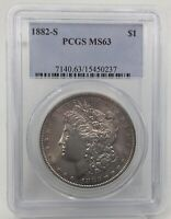 1882-S MORGAN SILVER DOLLAR MINT STATE 63 PCGS CERTIFIED MINT STATE 63 $1